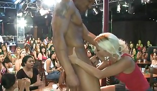 Sweet babe gets her beaver drilled during stripper party