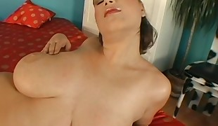 Gorgeous honey is hungry for shlong after  fake penis play