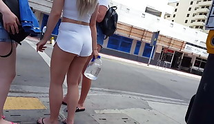 Candid hidden cam ultimate blonde PAWG tight white shorts