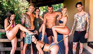 CROWD Restrain bondage - Outdoor BDSM and pool fuck-fest for Loren Minardi