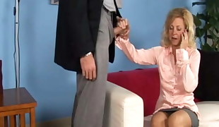 Mature blond cheats with her therapist