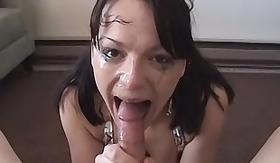 Immense tit brunette in ponytails deepthroats a long cock