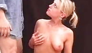 Pretty Blondie Girl With Ideal Assets Gives Handjob