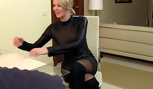 Sexy Wifey Cara fucked in Leather and cum on clothes