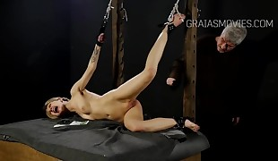 Cute girl held and punished
