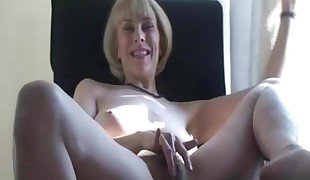Hazel peels off and cums firm